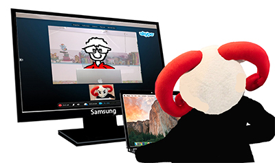 Using an external monitor for a video-conference.